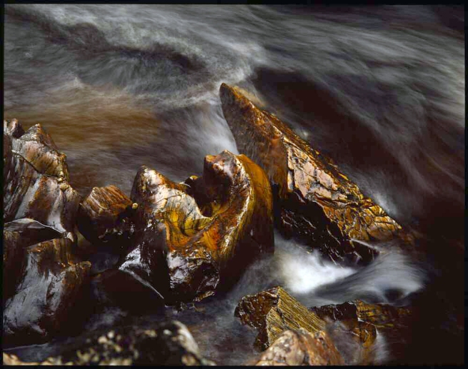 Peter Dombrovskis (Australian, born Germany 1945-96) 'Rock and rapid below Pine Camp, Franklin River, Tasmania' 1979