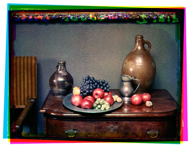 Bernard F. Eilers (1878-1951) 'Stilleven met fruitschaal en drie kruiken op een kastje' (Still life with a fruit bowl and three jugs on a cupboard) 1934-04/1936