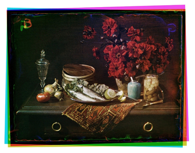 Bernard F. Eilers (1878-1951) 'Stilleven met haringen en rode dahlia's' (Still life with herring and red dahlias) c. 1935