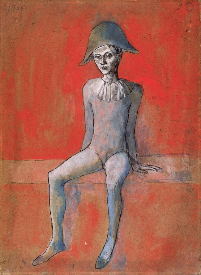 Pablo Picasso (Spanish, 1881-1973) 'Arlequin assis sur fond rouge' 1905