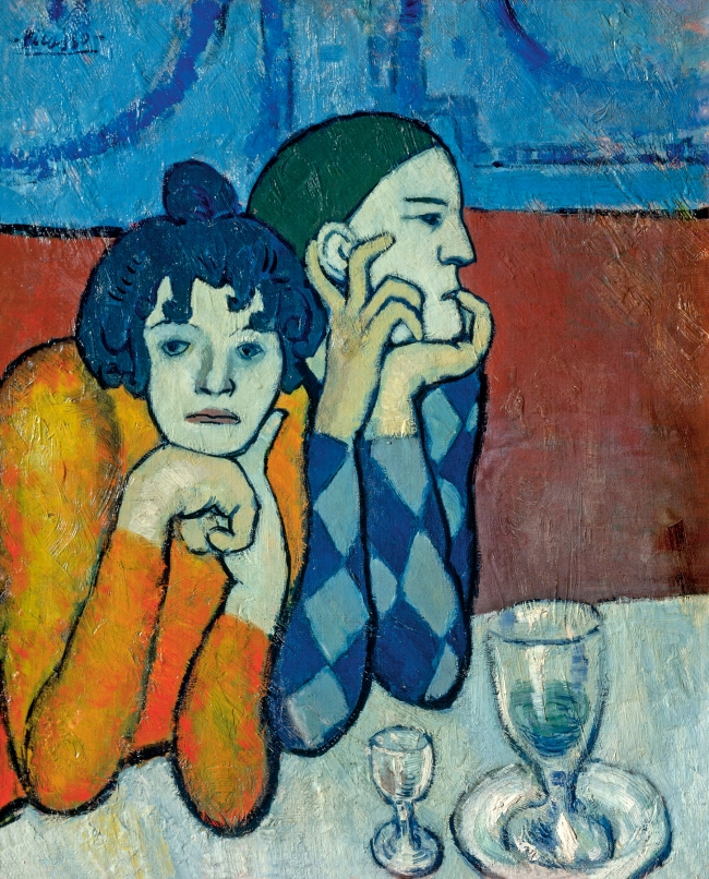 Pablo Picasso (Spanish, 1881-1973) 'Arlequin et sa compagne' (Harlequin and his companion) 1901