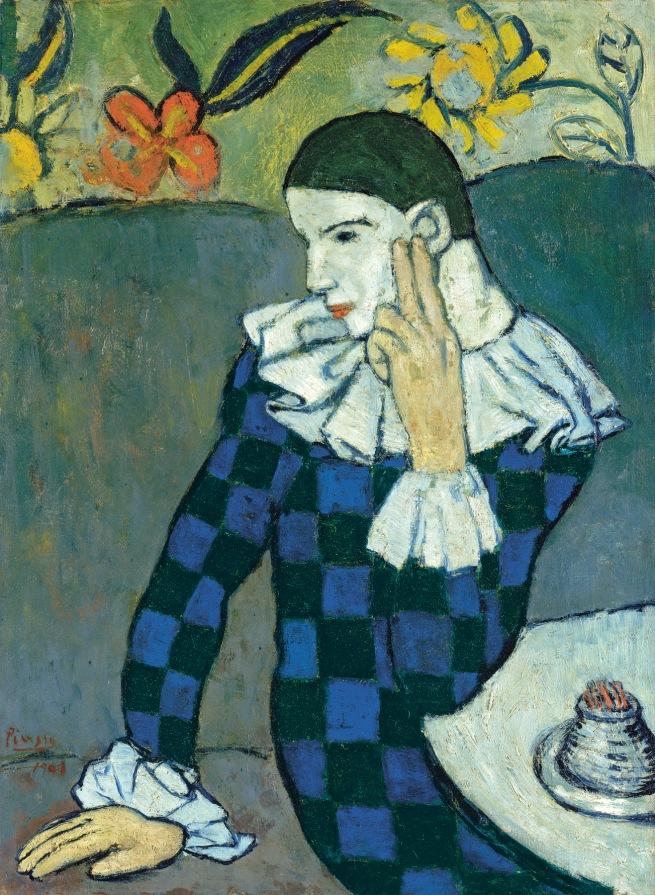 Pablo Picasso (Spanish, 1881-1973) 'Arlequin assis' (Harlequin sitting) 1901