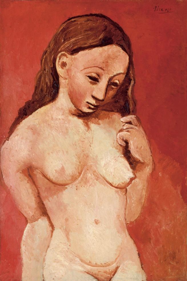 Pablo Picasso (Spanish, 1881-1973) 'Nu sur fond rouge (Jeune femme nue à la chevelure)' 1906