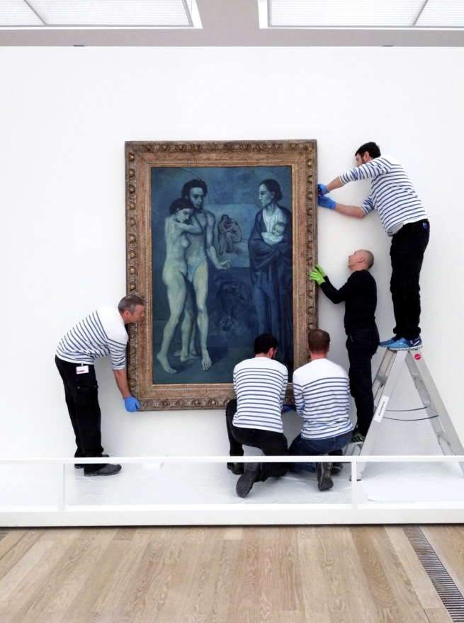View of the installation of the painting 'La Vie' (1903) for the exhibition 'The young Picasso - Blue and Rose Periods' at Fondation Beyeler