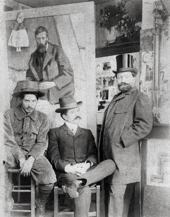 Unknown photographer. 'Pablo Picasso, Pere Mañach and Antonio Torres Fuster, Boulevard de Clichy 130, Paris' 1901