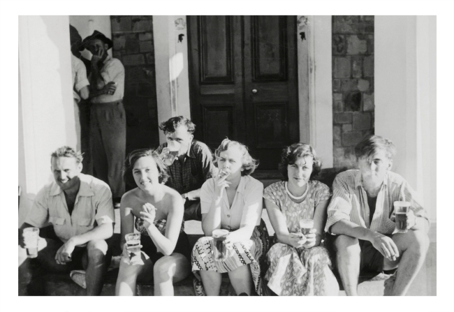 Joyce Evans (Australian, 1929-2019) 'Dissipation at the pub: students outside Largs Bay pub while attending N.U.A.U.S. conference, South Australia 1951 - Joyce Zerfas, Jill Warwick, Val Groves' 1951
