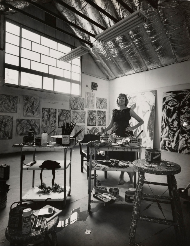 Hans Namuth (German, 1915-1990) 'Lee Krasner in her studio in the barn, Springs' 1962