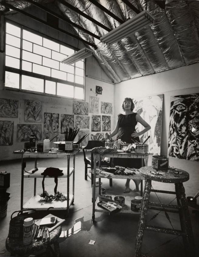 Hans Namuth (German, 1915-1990) 'Lee Krasner in her studio in the barn, Springs' 1962