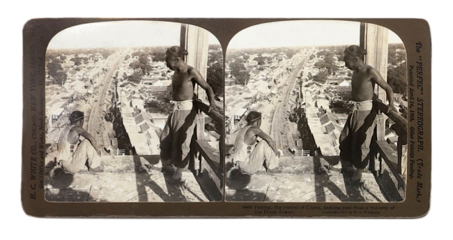 """Herbert Ponting (1870-1935) (photographer) The """"Perfec"""" Stereograph. H.C. White Co., (publisher) 'Peking, the capital of China, looking east from a balcony of the Drum Tower' 1907"""