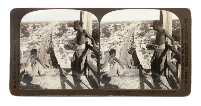 "Herbert Ponting (1870-1935) (photographer) The ""Perfec"" Stereograph. H.C. White Co., (publisher) 'Peking, the capital of China, looking east from a balcony of the Drum Tower' 1907"