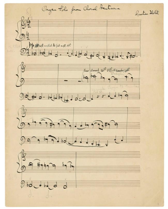 HOLST, Gustav (1874-1934). Autograph music manuscript signed ('Gustav Holst'), the organ part from A Choral Fantasia, op.51, n.d. [c.1930-31]