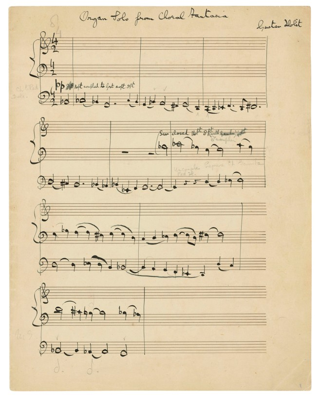 HOLST, Gustav (1874-1934). Autograph music manuscript signed ('Gustav Holst'), the organ part from A Choral Fantasia, op.51, n.d. [c.1930-31]