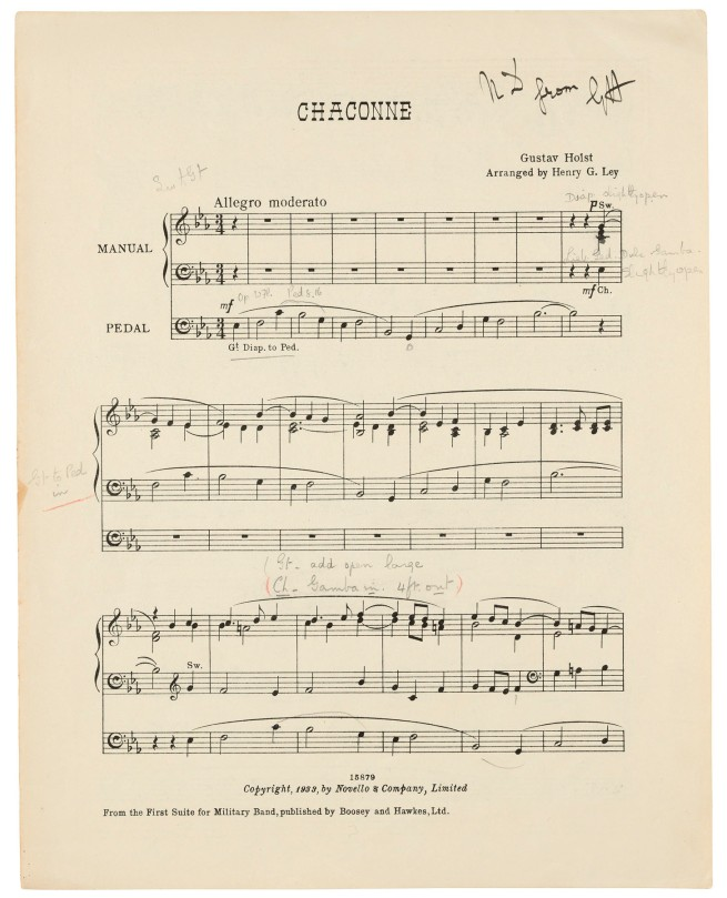 HOLST, Gustav (1874-1934). Annotated printed score, an organ arrangement for the 'Chaconne' movement from the First Suite in E-flat for Military Band, Op. 28, inscribed by Holst ('ND from GH'), n.d. [1933]