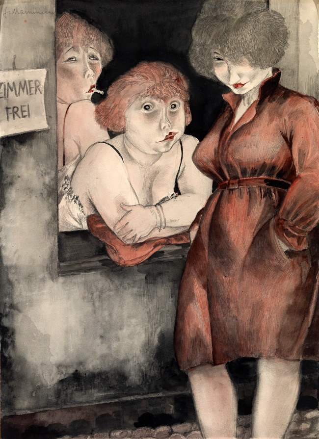 Jeanne Mammen (German, 1890-1976) 'Free room' (Brüderstrasse (Zimmer frei)) 1930
