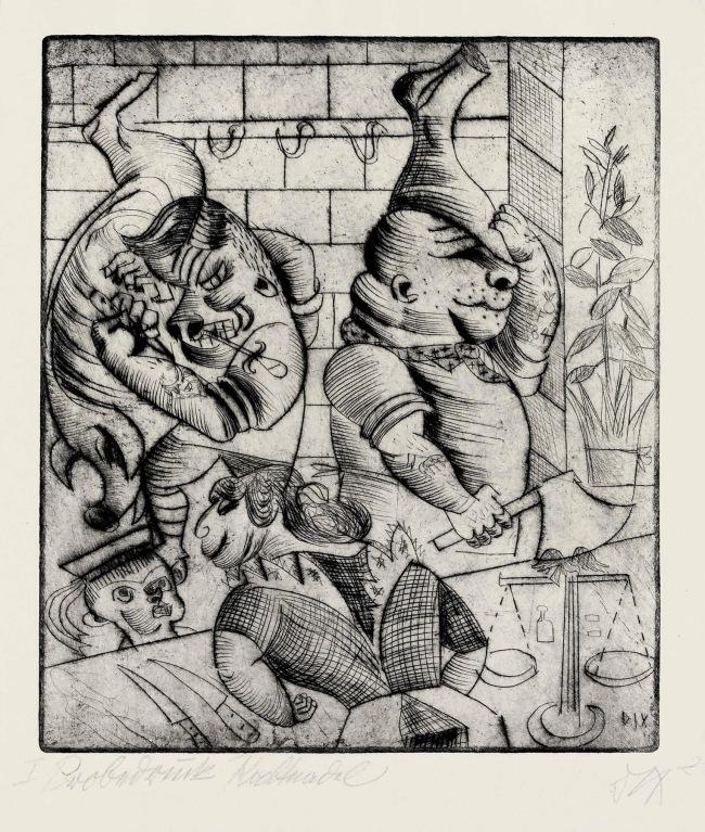 Otto Dix(1891-1969) 'Butcher Shop' (Fleischerladen) 1920