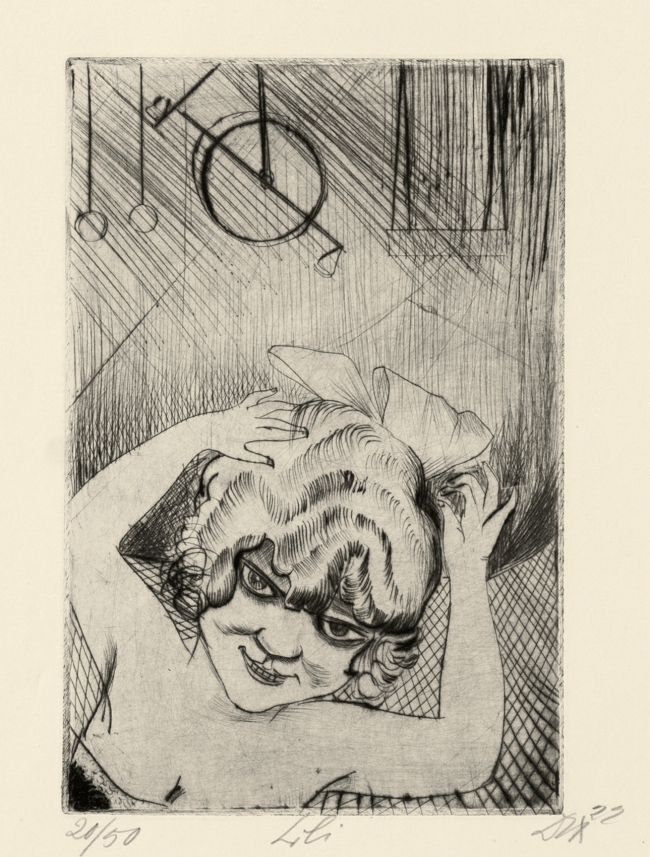 Otto Dix (German, 1891-1969) 'Lili, the Queen of the Air' (from 'Circus' portfolio) 1922