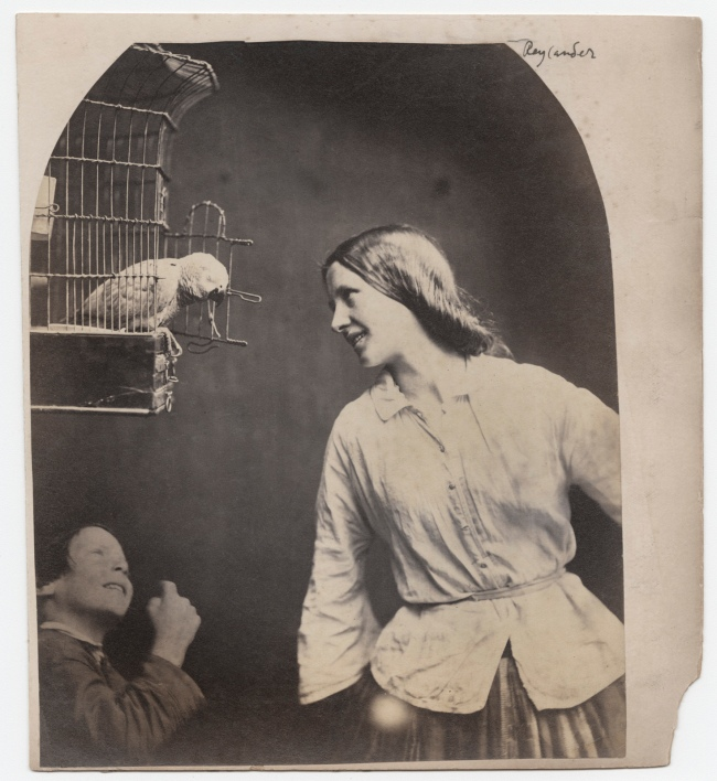 Oscar G. Rejlander (British, born Sweden, 1813-1875) 'Enchanted by a Parrot (Mary Rejlander?)' c. 1860