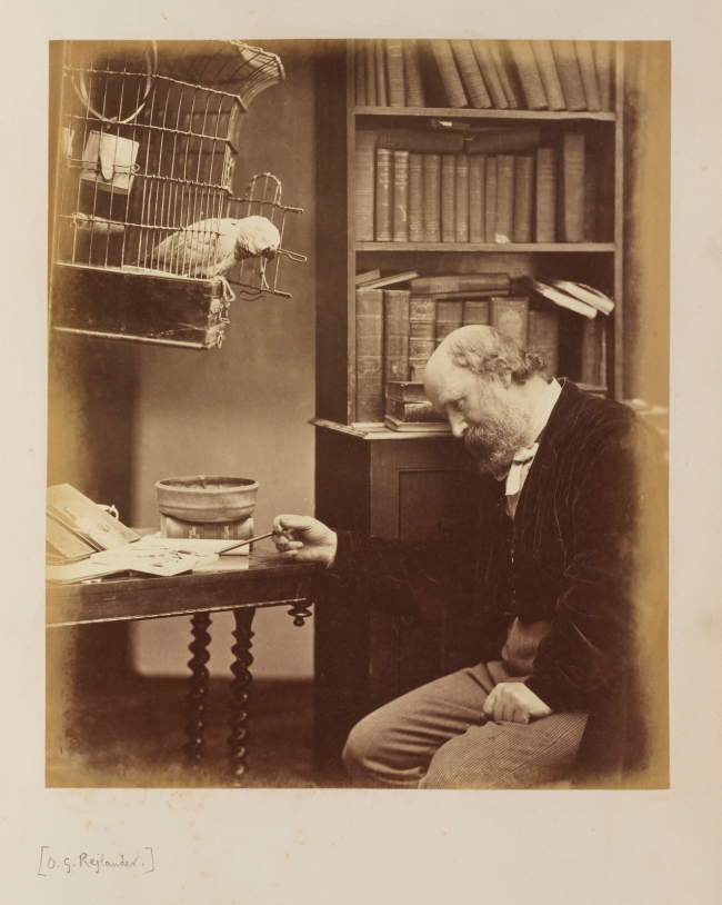 Oscar G. Rejlander (British, born Sweden, 1813-1875) 'Self-Portrait with Parrot' c. 1865