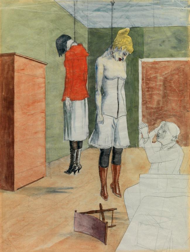 Rudolf Schlichter (German, 1890-1955) 'The Artist with Two Hanged Women' (Der Künstler mit zwei erhängten Frauen) 1924