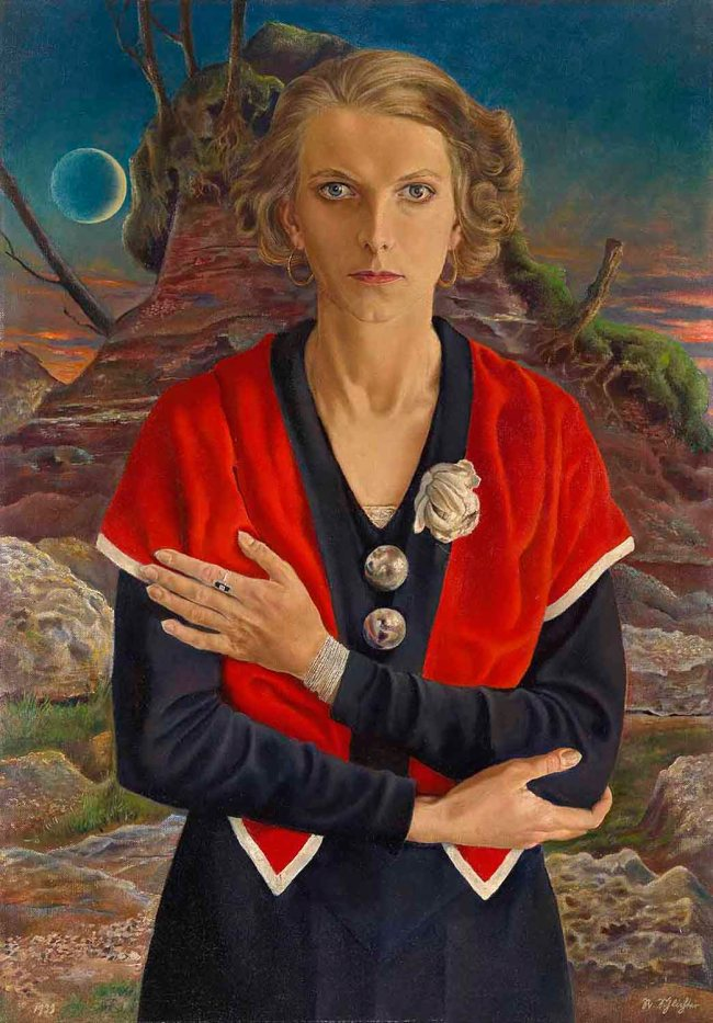 Rudolf Schlichter (German, 1890-1955) 'Lady with Red Scarf (Speedy with the Moon)' (Frauenportrait (Speedy)) 1933