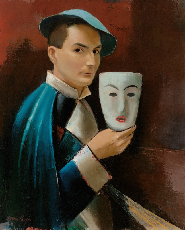 Sergius Pauser (Austrian, 1896-1970) 'Self-Portrait with Mask' 1926