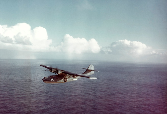 U.S. Navy. 'A U.S. Navy Consolidated PBY-5A Catalina patrol bomber in flight, 1942-43' c. 1942