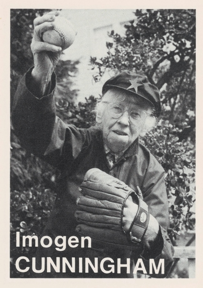 Mike Mandel (American, b. 1950) 'Imogen Cunningham Baseball-Photographer Trading Card' 1975