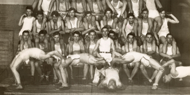 Photographer Unidentified (American) 'Untitled (human pyramid: fifty-six boys in white uniforms arranged in eight levels in a gymnasium)' 20th century (detail)