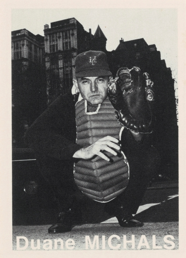 Mike Mandel (American, b. 1950) 'Duane Michals Baseball-Photographer Trading Card' 1975