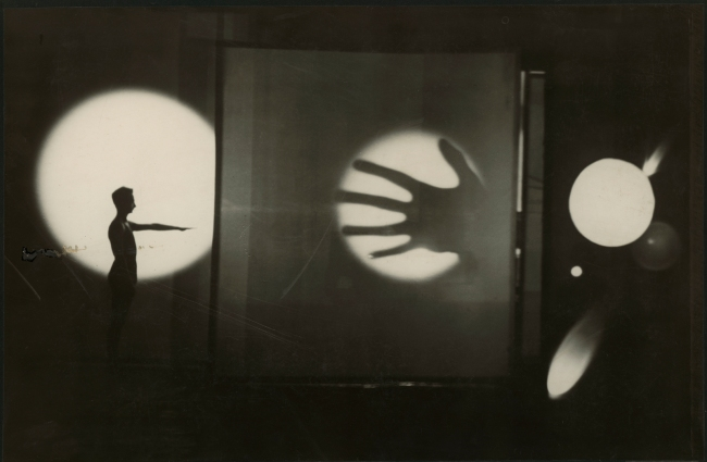 T. Lux Feininger. 'Bauhaus Stage Dessau: 'Light Play' by Oskar Schlemmer with the dancer and pantomime Werner Siedhoff' 1927