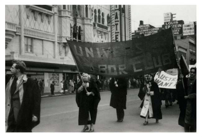 Joyce Evans (Australian, 1929-2019) 'University Labour Club banner, May Day March, Flinders Street, Melbourne' 1951