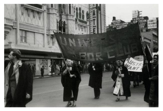 Joyce Evans(Australian, 1929-2019) 'University Labour Club banner, May Day March, Flinders Street, Melbourne' 1951