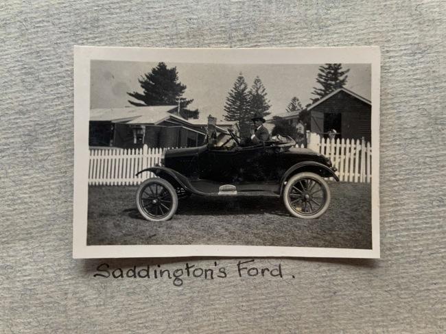 """Saddington's Ford,"" New Year, 1923 in John ""Jack"" Riverstone Faviell 1922-1933 photo album"
