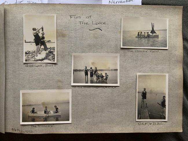 """Fun at The Lake,"" 17/19 February, 1923 in John ""Jack"" Riverstone Faviell 1922-1933 photo album"