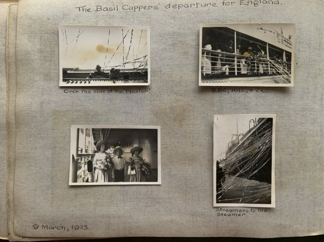 """""""The Basil Cappers' departure for England,"""" 9 March, 1923 in John """"Jack"""" Riverstone Faviell 1922-1933 photo album"""
