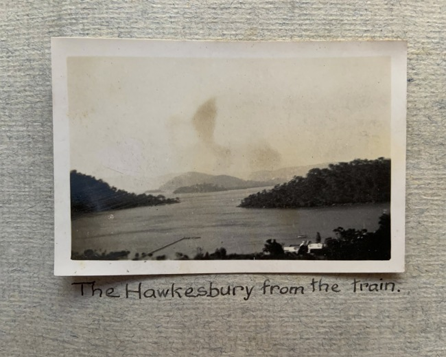 """""""The Hawkesbury from the train,"""" 1923 in John """"Jack"""" Riverstone Faviell 1922-1933 photo album"""