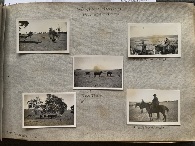 """""""Foxlow Station, Bungendore,"""" 3/5 March, 1923 in John """"Jack"""" Riverstone Faviell 1922-1933 photo album"""