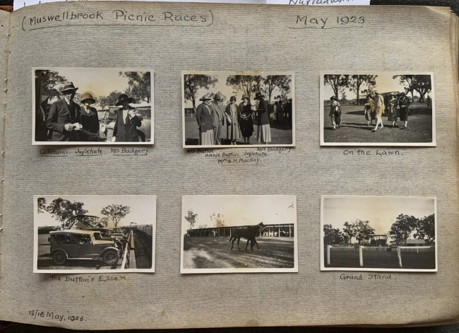 """""""Upper Hunter Amateur Race Club Meeting... (Muswellbrook Picnic Races)"""" 15/16 May, 1923 in John """"Jack"""" Riverstone Faviell 1922-1933 photo album"""