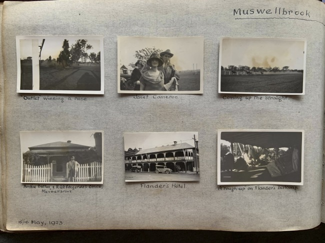 """""""Muswellbrook Picnic Races,"""" 15/16 May, 1923 in John """"Jack"""" Riverstone Faviell 1922-1933 photo album"""