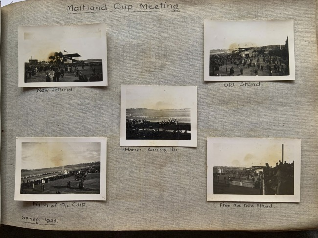 """""""Maitland Cup Meeting,"""" Spring, 1923 in John """"Jack"""" Riverstone Faviell 1922-1933 photo album"""