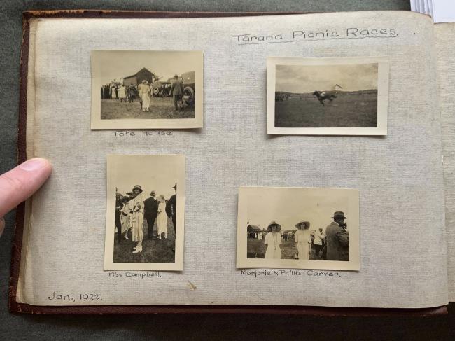"""Tarana Picnic Races,"" January 1922 in John ""Jack"" Riverstone Faviell 1922-1933 photo album"