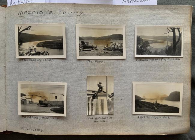 """Wiseman's Ferry,"" 25 November, 1923 in John ""Jack"" Riverstone Faviell 1922-1933 photo album"