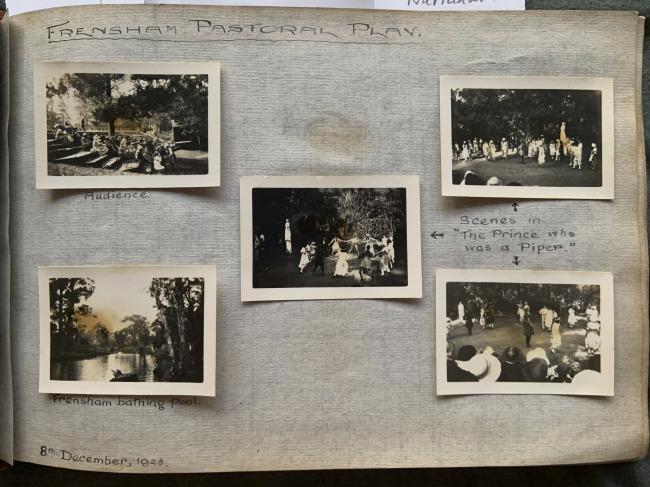 """Frensham Pastoral Play,"" 8th December 1923 in John ""Jack"" Riverstone Faviell 1922-1933 photo album"