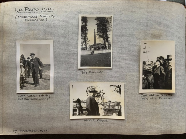"""La Perouse (Historical Society Excursion),"" 17 November, 1923 in John ""Jack"" Riverstone Faviell 1922-1933 photo album"