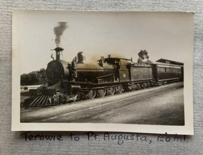 """Terowie to Pt. Augusta, 120 ml,"" c. 1923 in John ""Jack"" Riverstone Faviell 1922-1933 photo album"