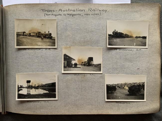 """Trans-Australian Railway (Port August to Kalgoorlie, 1051 miles),"" 1923 John ""Jack"" Riverstone Faviell 1922-1933 photo album"