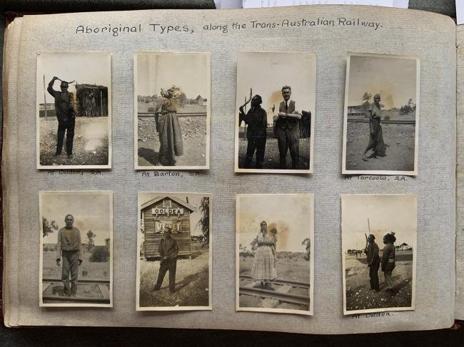 """Aboriginal Types, along the Trans-Australian Railway,"" 1923 in John ""Jack"" Riverstone Faviell 1922-1933 photo album"
