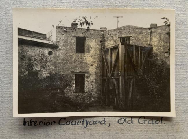 """Interior Courtyard, Old Gaol,"" Fremantle, 1923 in John ""Jack"" Riverstone Faviell 1922-1933 photo album"