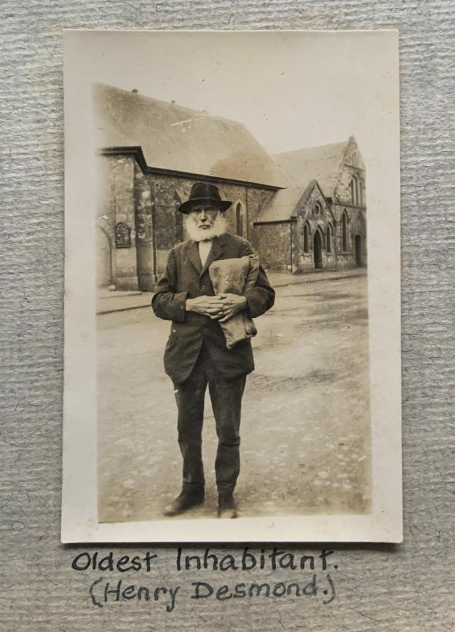 """Oldest Inhabitant (Henry Desmond.),"" Geraldton, W.A. 1923 in John ""Jack"" Riverstone Faviell 1922-1933 photo album"