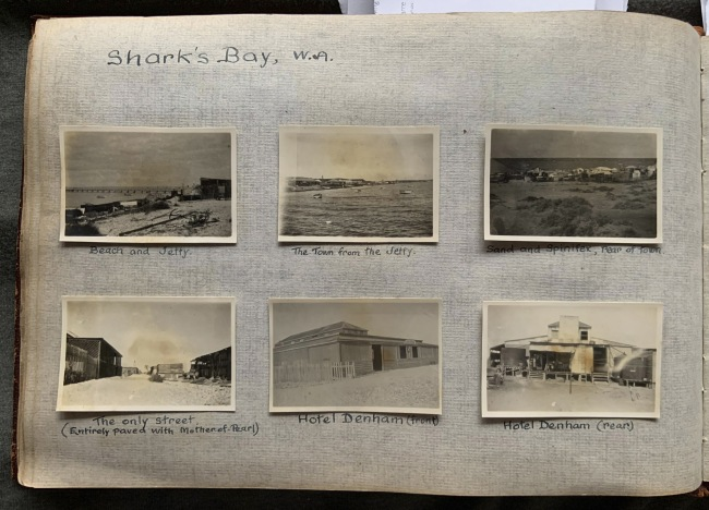 """Shark's Bay, W.A.,"" 1923 in John ""Jack"" Riverstone Faviell 1922-1933 photo album"